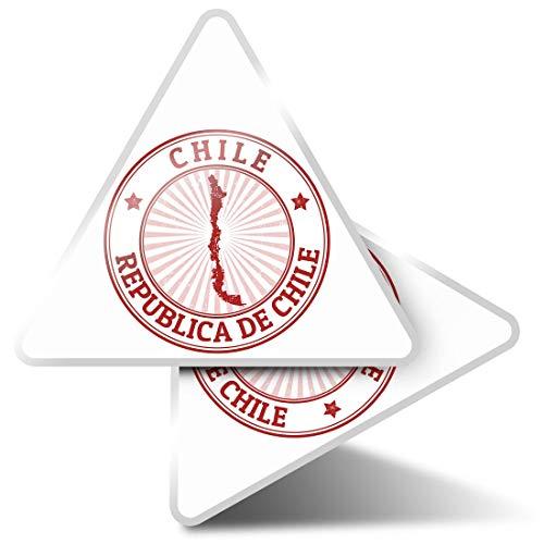 2 pegatinas triangulares de 10 cm – Republica De Chile Travel Map Fun Calcomanías para ordenadores portátiles, tabletas, equipaje, reserva de chatarra, neveras #4656