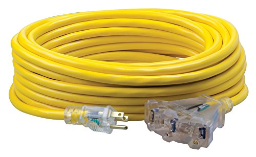 Coleman Cable 0 10/3 Cable de extensión de vinilo con extremos Iluminados, Alambre de calibre 12 (tomacorriente multi), 15 m, Amarillo