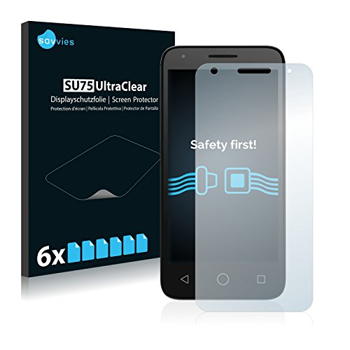 Savvies 6X Schutzfolie kompatibel mit Alcatel Pixi 3 (4.5) Bildschirmschutz-Folie Ultra-transparent
