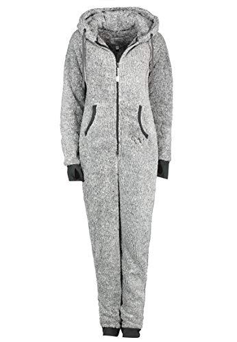 Eight2Nine Damen Jumpsuit Overall aus Teddy Fleece mit Ohren Dark-Grey L/XL