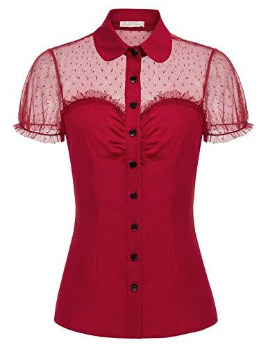 Belle Poque GF574 - Blusa para Mujer, Estilo Vintage y Retro