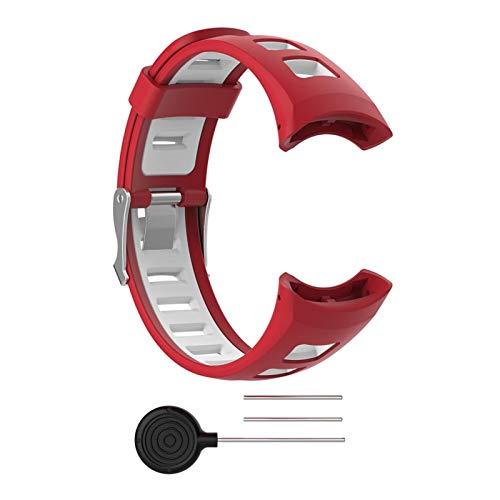 LXF JIAJU Reloj De Reloj De Reloj De Reloj De Silicona De Doble Color Universal para Hombres para Suunto Quest M1 M2 M4 M5 M Serie Reloj Inteligente (Color : Red)