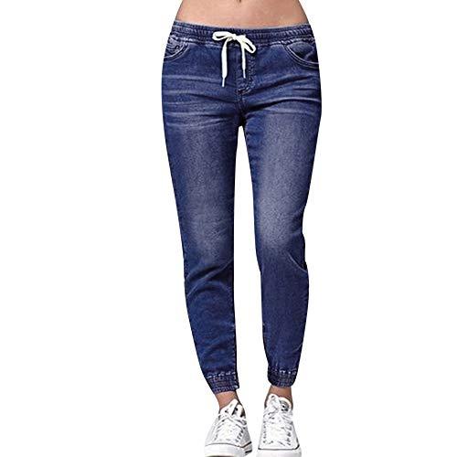 NPRADLA Damen Bleistift Hose Herbst Stretch Hosen Elastischer Bund Große Größe Lose Jeans Lässige Kordelzug Frau Stretch Hipster Röhrenjeans
