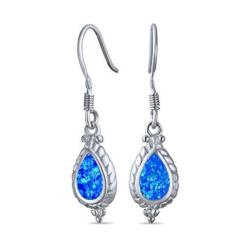 Antico cavo in stile vintage Milgrain Cameo Stile Lacrima Iridescente Blu Creato Opal Drop Dangle Orecchini per donna 925 Sterling Argento Francese Filo