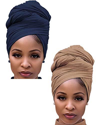 Hair Headscarf,African Women' Soft Long Scarf Shawl Hair Bohemian Headwrap Stretch Headband Tie -Navy Blue & Camel