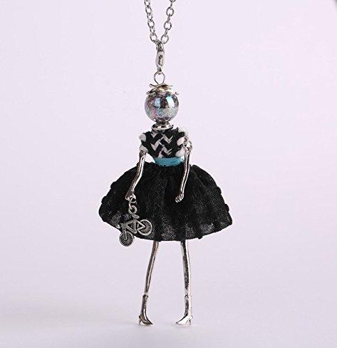 CWQAN Collar De Mujer, Muñeca De Mujer con Simple Lolita Negra Collares Largos Lindos Bicicleta Bebé Niñas Maxi Collar Declaración De Moda Joyería