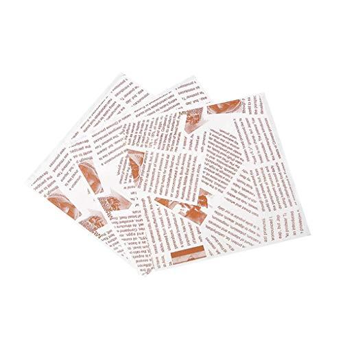 rongweiwang 100 Piezas Sandwich Bolsas Grasa Prueba Kraft Bolsa de Papel de Embalaje de Alimentos Resistente para el Postre Panes Dulces Snacks, Tipo 2