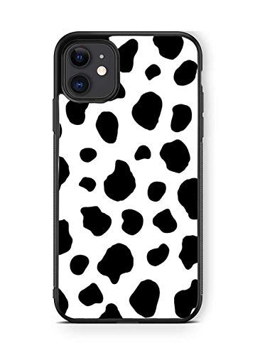 XUNQIAN iPhone 11 Case, Black White Cow Dalmatian Spots Artistic Thin Soft Black TPU +Tempered Mirror Material Protective Case for Apple iPhone 11 Cases (D-Black White Cow)
