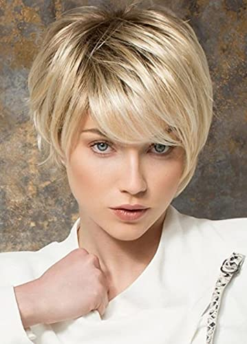 Blonde Wig with Bangs for White Women Menoqi Short Platinum Ombre Pixie Cut Wig Natural Fashion Synthetic Hair Wigs for Daily Party WIG285B