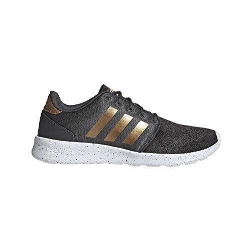 adidas Women's CloudfoamQT Racer Xpressive-Contemporary CloudfoamRunning Sneakers Shoes, Grey/Tactile Gold Met./FTWR White, 8 M US