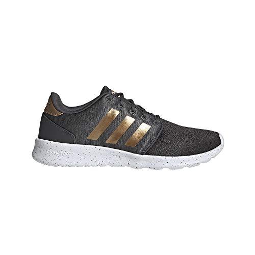 adidas Women's Cloudfoam Qt Racer Sneaker, Grey/Tactile Gold Met./FTWR White, 8 M US