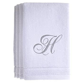 Monogrammed Towels Fingertip Personalized Gift 11 x 18 Inches - Set of 4- Silver Embroidered Towel - Extra Absorbent 100% Cotton- Soft Velour Finish - For Bathroom/ Kitchen/ Spa- Initial H  White