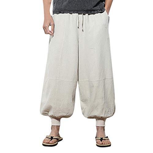 ZODOF Hombre Pantalones Harem Ligeros, Hippies,Casual,Hechos a Mano para Yoga Moda Casual de Hombres Suelta Color Puro Estilo Hip Hop Algodón y Lino Largo Pantalón