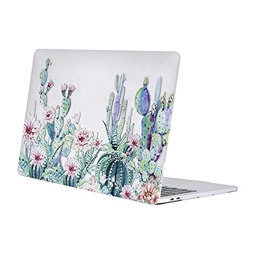 MOSISO Funda Dura Compatible con MacBook Pro 13 USB-C A2338/A2289/A2251/A2159/A1989/A1706/A1708,Ultra Delgado Carcasa Rígida Protector de Patrón de Plástico Cubierta,Cactus de Base Clara
