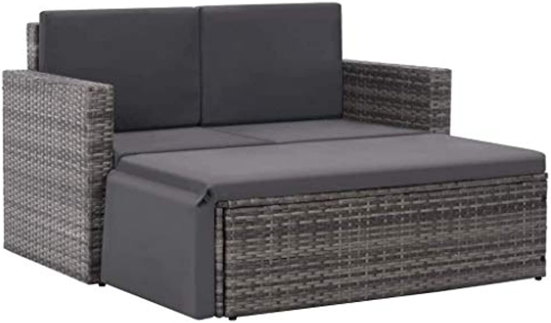 VidaXL Gartensofa 7-TLG. Poly Rattan Grau Gartenmbel Lounge Sitzgruppe Sofa