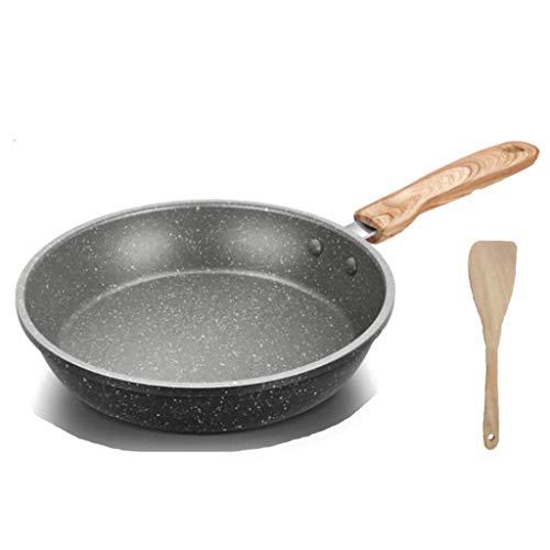 JiangKui Sartén Wok Sartenes de Aluminio con Tapa de Vidrio Y Mango de Acero Inoxidable Superficie para Saltear Antiadherente Ideal para Cocinar Huevos o Tortillas, Enviar Esponja GratisLos 24 * 6cm