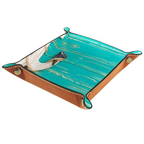 rodde Bandeja de Valet Cuero para Hombres - Anchor Deck Blue Summer Ocean - Caja de Almacenamiento Escritorio o Aparador Organizador,Captura para Llaves,Teléfono,Billetera,Moneda