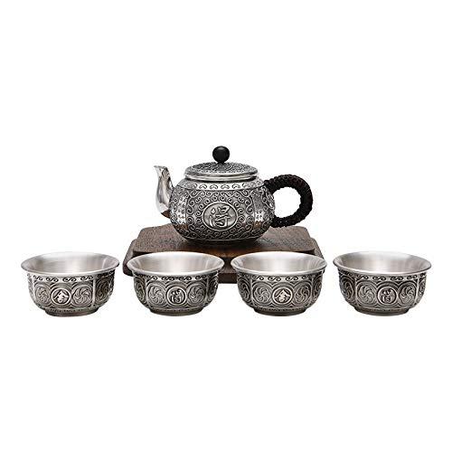 HMXCC Juego de 4 piezas de plata de ley 999 de estilo chino Juego completo de tazas de té Kung Fu Set de té para oficina en el hogar