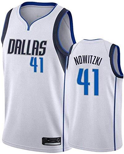 XSJY Donne Jersey Uomo - NBA Dallas Mavericks # 41 Dirk Nowitzki Maglie Traspirante Ricamati Pallacanestro Swingman Jersey,C,M:170~175cm/65~75kg