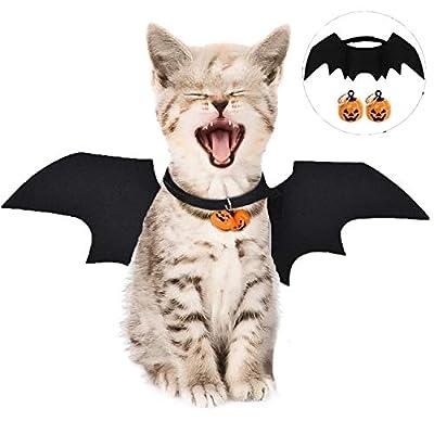 LIZHIGE Pets Bat Wings, Costume for cats, Pets Costumes Clothes Halloween Pumpkins cat bell Bat Wings Cat Bat Costume for Puppy Dog Cat