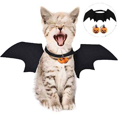 LIZHIGE Pet Costume Bat Wings, 1Pc Pet Halloween Bat Wings Disfraz, Gato Perro Cool Bat Wings Cosplay Accesorio para Halloween Holiday Theme Party, 2Pc Campana de Calabaza