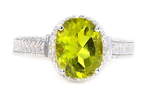 Elizabeth Jewelry 10x 8mm simulado Peridoto & Diamante Oval Anillo 925Plata de Ley rodio Acabado