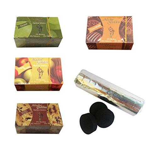 Pack 4Erba per narghilè Shisha di gusti assortiti + pastiglie Carbon narghilè