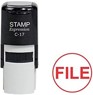 StampExpression - File Round Office Self Inking Rubber Stamp - Red Ink (A-6990)
