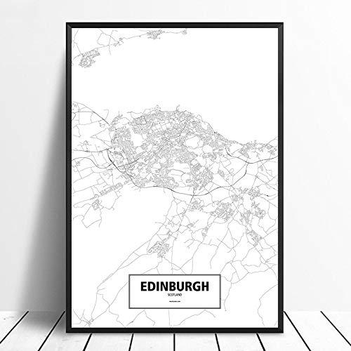 SERTHNY Drucken Malerei Bilder,Edinburgh, Schottland Schwarz Weiß Benutzerdefinierte Welt Stadtplan Poster Leinwand Im Nordischen Stil Wall Art Home Decor, 60 X 90 cm (23,62 X 35,43 Zoll) Ohne Rahmen