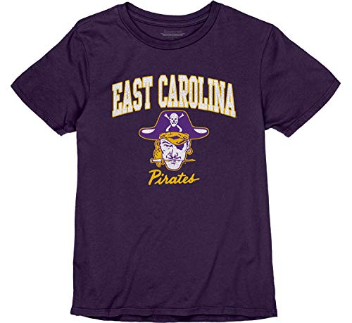 Reserve Collection by Blue 616 NCAA East Carolina Pirates Damen Vintage Boyfriend Vault Tee, East Carolina Pirates Lila, Größe S