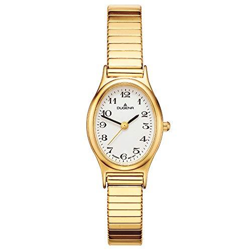 DUGENA Damen-Armbanduhr Vintage Comfort, Quarz, Edelstahlgehäuse, Mineralglas, Edelstahl-Zugband, 3 bar (Gold)