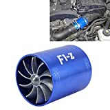 Hsagdas Turbina protector de F1-Z de coches inoxidable universal Supercharger doble dual de la turbina de admisión de aire kit de ahorro de combustible Turbo Turboing cargador Fan Set (Color : Azul)