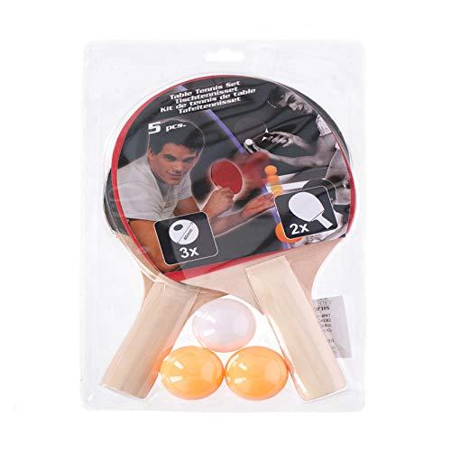 Megaprom 5-TLG. Ping Pong Tischtennisschläger Schläger Tischtennis Table Tennis Racket inkl. 3 Bälle