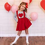 jieGorge Girls Outfits&Set, Toddler Kids Baby Girls Valentine Dot Heart-Shaped Tops Suspender Skirts Outfits, Clothing for Boys and Girls (2-3 Years Red)