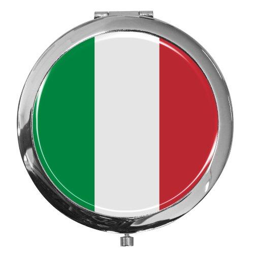 metALUm Premium - Miroir de Poche en métal chromé Drapeau Italie avec Une Couche Noble de résine sythétique - Un pour Les Fans d'Italie