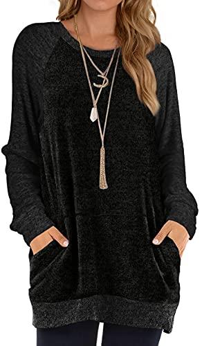 Tunic Sweatshirts for Women Loose Color Block Sweater Fall Black 2XL