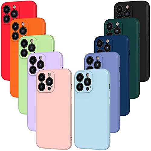 iVoler 10x Custodia Cover per iPhone 13 PRO, Sottile Morbido TPU Silicone Antiurto Protettiva Case (Nero, Blu, Azzurro, Azzurro, Verde Scuro, Verde, Arancione, Rosso, Rosa, Viola)
