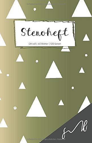 Stenoheft DIN A5: weiße Dreiecke auf grünem Verlauf - Shorthand Steno Übungsheft - liniert mit Mittellinie - Steno Notizbuch für Anfänger und Fortgeschrittene