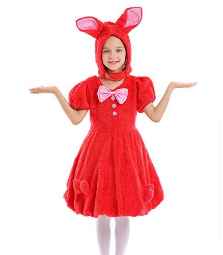 NIMIFOOL Disfraces para niños Vestido de Traje de Conejo de Orejas caídas de Material de Lana de algodón para Familia de Padres e Hijos Adecuado para la Fiesta Escolar de Halloween Cosplay,Red,XS