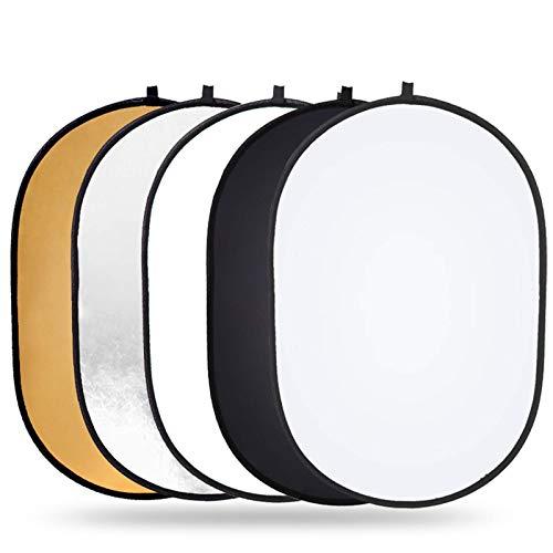 POSD Fotografía con Reflector De Luz Reflector Ovalado Portátil 5 En 1 Estudio De Fotografía 60x90cm Reflector Plegable Accesorios De Fotografía