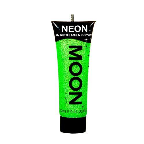 Moon Glow – Gel pailleté fluo UV visage & corps. 12 ml. Verde Fluo. Peinture pailletée pour le visage