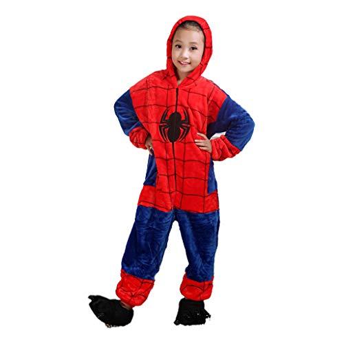 YUANY Kinder Jungen Spiderman Nightwear Onesies Kapuzen Fleece Supersoft Flanell Einteiliger Pyjama,Spiderman -140cm