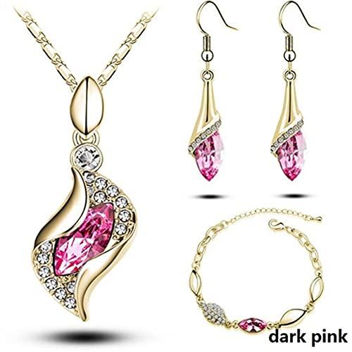 yxx Pulseras para Mujeres Conjuntos africanos Conjuntos de Joyas de Color Plata de Oro para Mujer Accesorios de Boda Bridal Colgante Collar de Cristal Pendientes Conjunto (Color : 13)