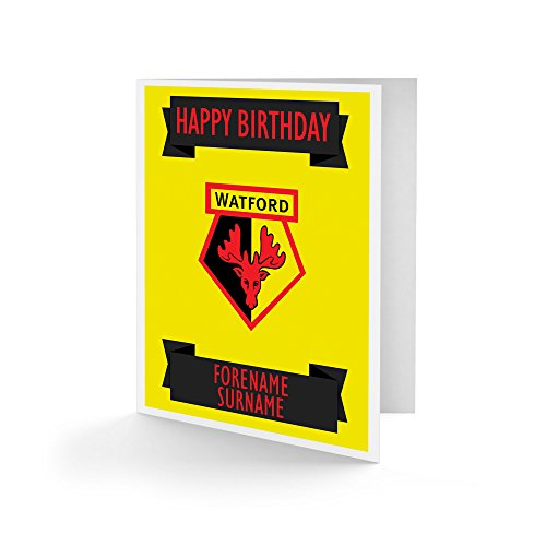Official Personalised Watford FC Crest Birthday Card