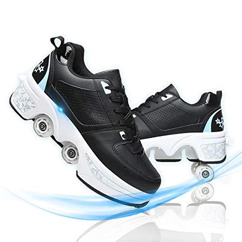JZIYH Zapatillas con Ruedas para Niños Zapatos con Ruedas Patín En Línea Zapatos Multiusos 2 En 1 Botas De Patinaje Cuádruples Ajustables
