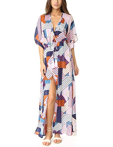 Ailunsnika Summer Fashion Short Sleeve Beach Kaftan Dress Half Sleeve Side Split Colorful Stripe Swimsuit Bikini Cover Up with Belt