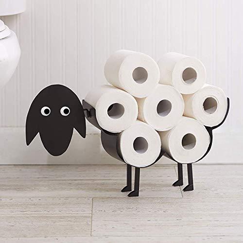 HomeZone Toilettenpapierhalter mit Schafmotiv, Metall, für bis zu 7 Rollen, Schwarz