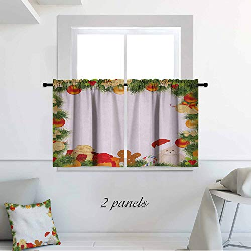 Kids Christmas Small Window Tiers Garland Frame Design with Evergreen Fir Tree Bear Toy and Gingerbread Man 42 x 30 inch 2 Panels Room Darkening Bedroom Curtains