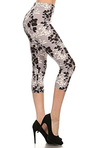 R562-CA-PLUS Moonlight Petals Capri Print Leggings, Plus Size