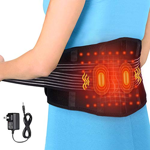 Heizung Massage Gürtel Wärmegürtel Rücken, USB Heizgürtel Elektrischer Rückenwärmer Heizkissen Bauch Taille Gürtel Wickeln für Warmer Bauch, Taillenschmerzen und Ischias Schmerzlinderung